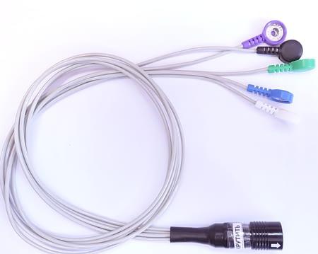 кабель пациента на 2 отведения (силиконовый провод, пятипроводной, биоустойчивый, двойной экран, серый, разъем 12 контактов)