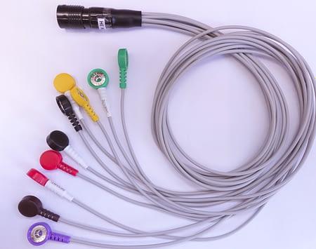 Кабель пациента на 12 отведений (силиконовый провод, десятипроводной, биоустойчивый, двойной экран, серый, разъем 12 контактов)